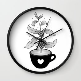 Coffee cup with Coffee plant Wall Clock