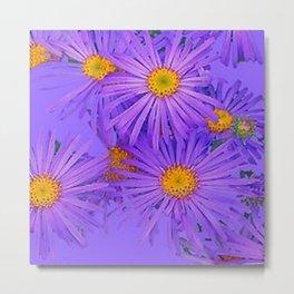 LAVENDER PURPLE ASTER FLOWERS ART Metal Print