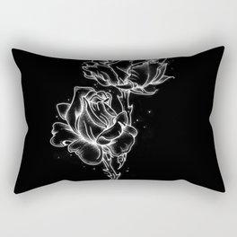Dotwork Roses, White on black Rectangular Pillow