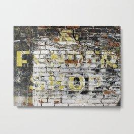 Shop Sign on Brick Metal Print