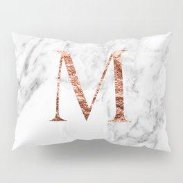 Monogram rose gold marble M Pillow Sham
