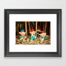 Tree Little Pigs Framed Art Print