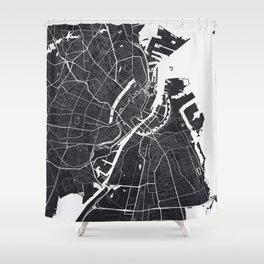 Copenhagen City Map Shower Curtain