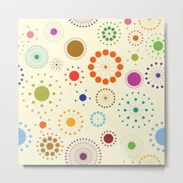 Colorful circles and flowers Metal Print
