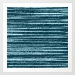 Teal watercolor brushstrokes geometrical stripes Art Print