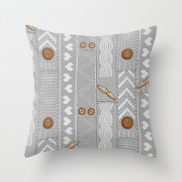 Scarves Knitted Buttoned - Gray Throw Pillow