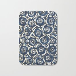 Blue and White Flower Pattern Bath Mat