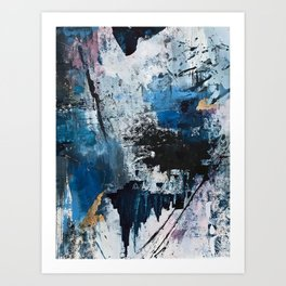 Breathe: colorful abstract in black, blue, purple, gold and white Art Print