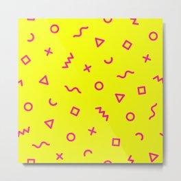 Bright Yellow & Pink Memphis Metal Print