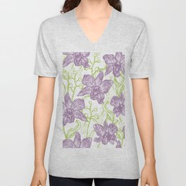 Orchid flowers. Hand drawn on white background olive Green pink purple contour sketch Unisex V-Neck