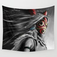 hayao miyazaki Wall Tapestries featuring Miyazaki's Mononoke Hime Digital Painting the Wolf Princess Warrior Color Variation by Barrett Biggers