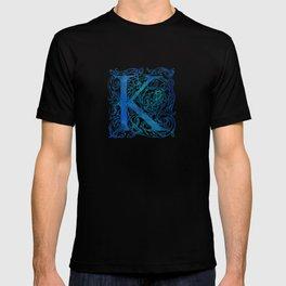 Letter K Antique Floral Letterpress T-shirt