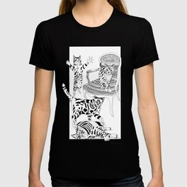 Cats with a chair - Ink artwork T-shirt