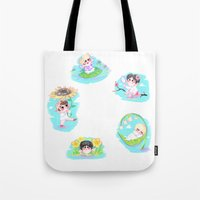 shinee Tote Bags featuring SHINee Flowers by sophillustration