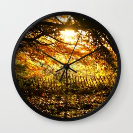 Autumn Leaves Sunset Photo Wall Clock