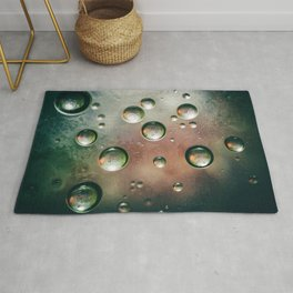 Organic Silver Oil Bubble Abstract Rug