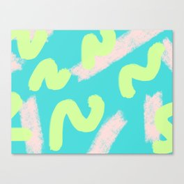 Green & Pink Wiggles Canvas Print