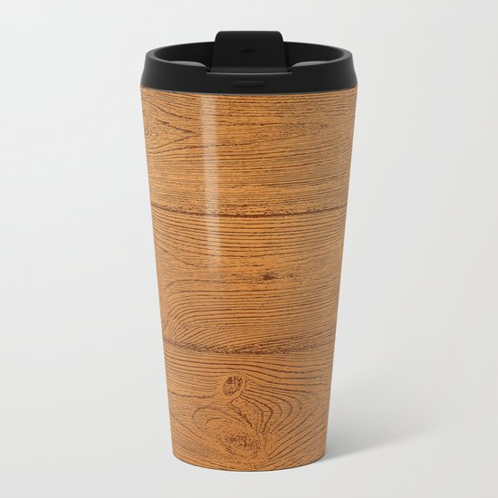 The Cabin Vintage Wood Grain Design Metal Travel Mug