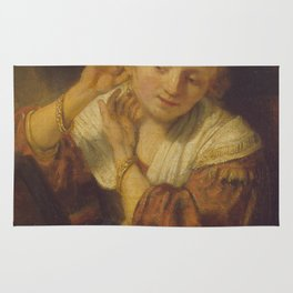 """Rembrandt Harmenszoon van Rijn, """"Young Woman Trying Earrings"""", 1654 Rug"""