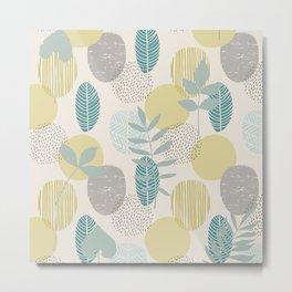 Abstract Modern Sketched Botanical Print No 4 Metal Print