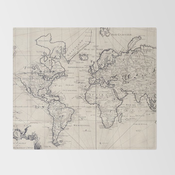 Vintage Map Of The World 1750 Throw Blanket By Bravuramedia Society6