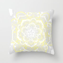 Woven Fantasy - Yellow, Grey & White Mandala Throw Pillow