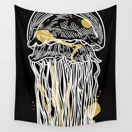 Electric Gold Jellyfish Duo Wall Tapestry