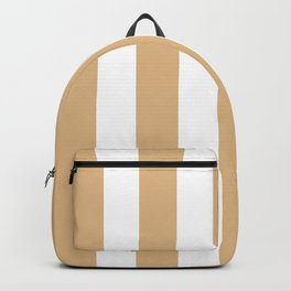 Burlywood brown -  solid color - white vertical lines pattern Backpack