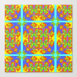 BOHEMIAN STYLE QUILTED TURQUOISE BUTTERFLIES & FLOWERS Canvas Print