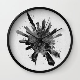 Dubai, United Arab Emirates Black and White Skyround / Skyline Watercolor Painting Wall Clock
