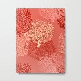 Fan Coral Print, Shades of Coral Orange Metal Print