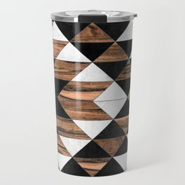 Urban Tribal Pattern No.9 - Aztec - Concrete and Wood Travel Mug