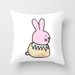Cute Pink Rabbit - a bunny for spring and Easter Throw Pillow