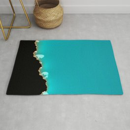 Creeping Teal with a Gold Edge Rug