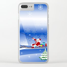 Santa Claus with christmas deer and presents Clear iPhone Case