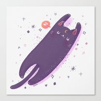 sailormoon Canvas Prints featuring Sleepy Luna by Suni