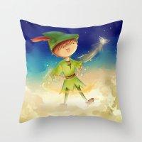 peter pan Throw Pillows featuring Peter Pan by CodiBear