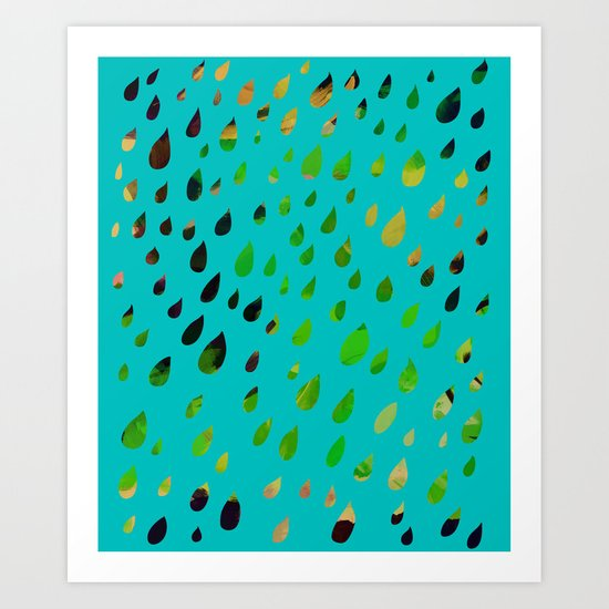 IT RAINED ALL DAY- BLUE Art Print