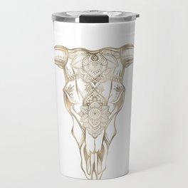 Bull Skull Gold Travel Mug
