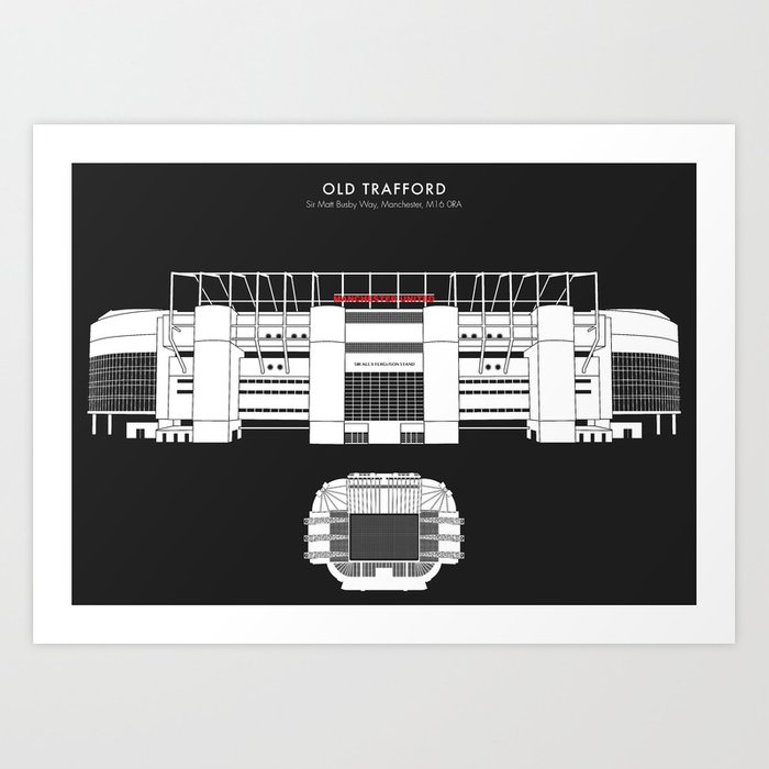 Old Trafford Stadium Manchester United Art Print By Dicksmithdesigns Society6