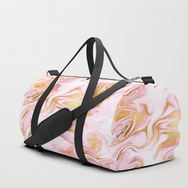 Rose Gold Marble Agate Geode Duffle Bag
