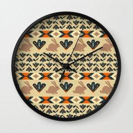 Flowers and chocolate bunnies Wall Clock