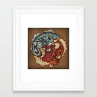 buddhism Framed Art Prints featuring The Tiger and the Dragon by Megan Lara