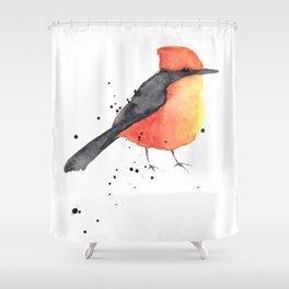 Vermilion flycatcher Shower Curtain