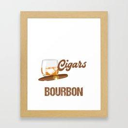 Cool Shirt For Cigars And Bourbon Lover. Framed Art Print