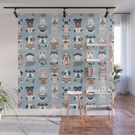 Doggie Coffee and Tea Time I // blue grey Wall Mural