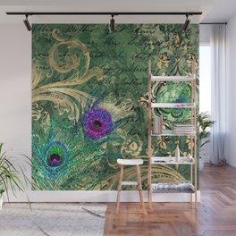 Emerald Peacock Wall Mural