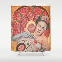 frida kahlo Shower Curtains featuring Frida kahlo by Magdalena Almero