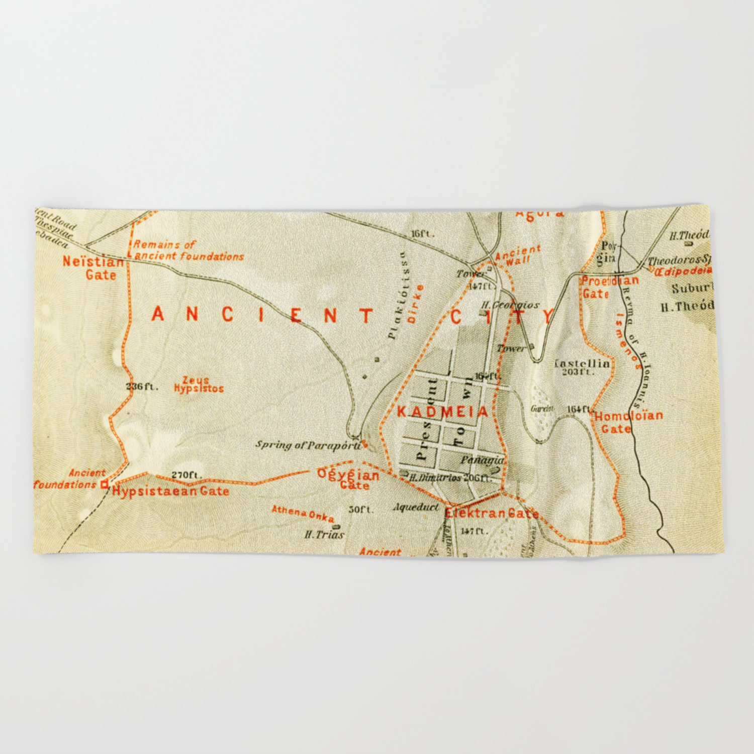 Vintage Map of Thebes Egypt (1894) Beach Towel on giza map, phoenicia map, anatolia map, battle of plataea, delphi map, tyre map, babylon map, ancient thebes, sinai peninsula map, greco-persian wars, mesopotamia map, philip ii of macedon, delos map, peloponnesian war, sparta map, jerusalem map, argos map, anyang map, memphis map, susa map, olympia map, sacred band of thebes, knossos map, ancient corinth, battle of leuctra, attica map, sidon map, crete map,