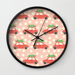 Red Vintage Holiday Christmas Cars Wall Clock